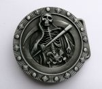 belt buckle, Skull Skeleton Grim Reaper Devil Hell Deat
